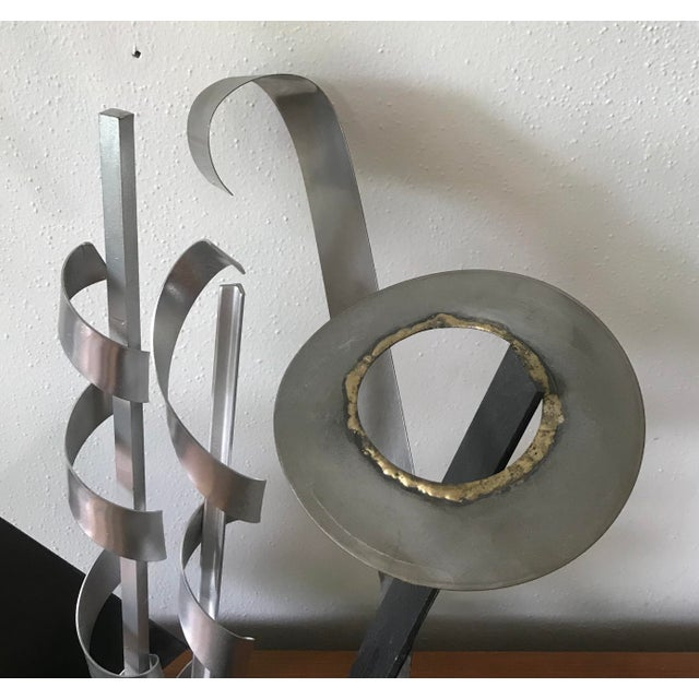 Abstract Post Modern Abstract Mixed Metal Sculpture For Sale - Image 3 of 7