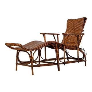 Adjustable Bamboo and Rattan Garden Chaise, Germany, 1920s-1930s