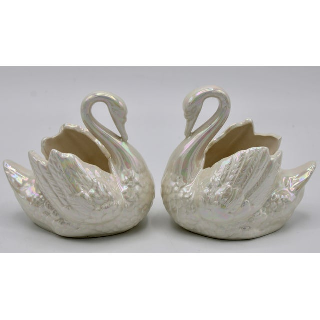 Pair of Small Cream Lusterware Swan Cachepot Planters For Sale - Image 10 of 10