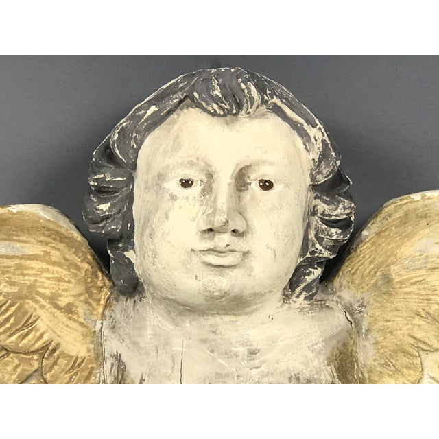 1980s Large Handcarved Wood Cherub with Long Wings For Sale - Image 5 of 8