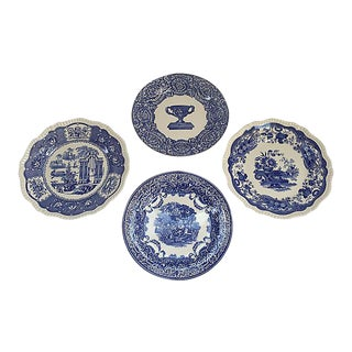 Vintage Spode Blue and White Wall Plates - Set of 4 For Sale
