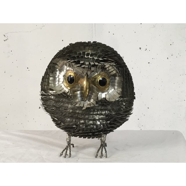 Brutalist Chrome Owl Attributed To Curtis Jere - Image 4 of 4