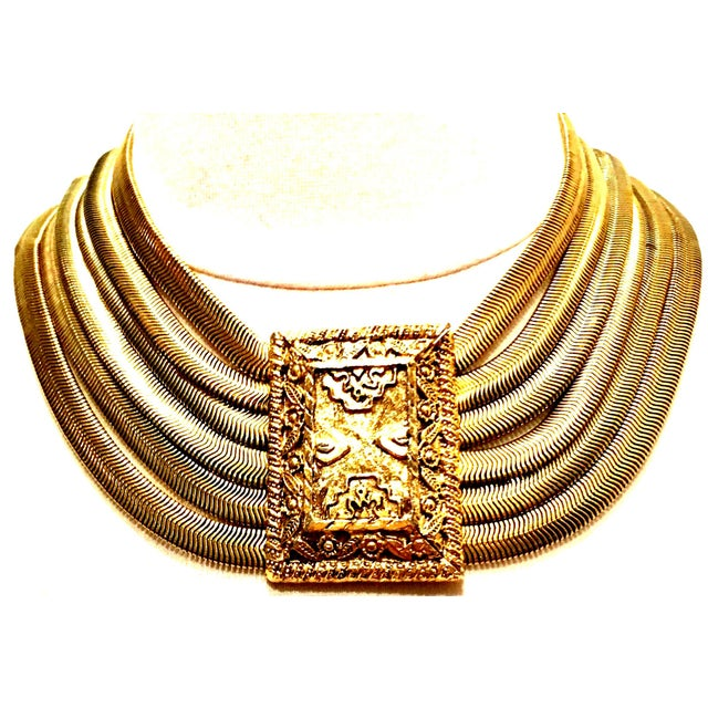 20th Century Gold Plate Six Strand Etruscan Style Choker Necklace By, Les Bernard. This Magnificat, coveted, rare piece...