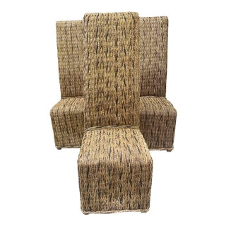 1990s Vintage Hemp Rope Coastal Chic Chairs - Set of 4 For Sale
