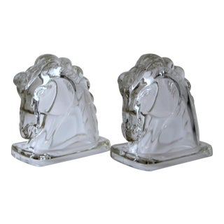 Vintage Art Deco Federal Glass Horse Bookends - a Pair For Sale