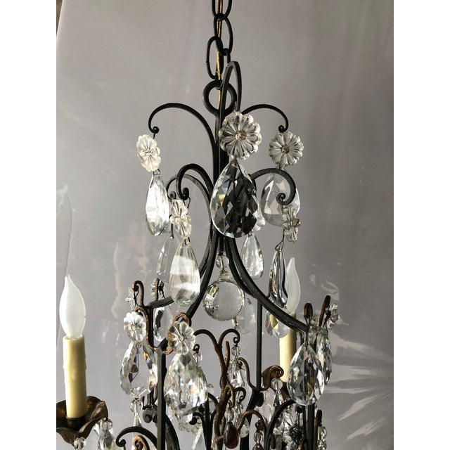 Vintage French Black Iron and Crystal Chandelier For Sale In Minneapolis - Image 6 of 13
