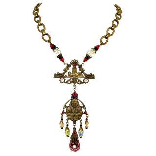 1920s to 1930s Czechoslovakian Egyptian Revival Necklace For Sale