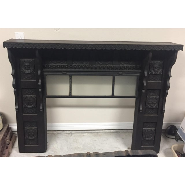 Antique Black Wood Fireplace Mantel For Sale - Image 4 of 5
