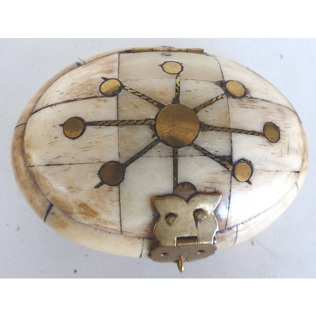 Oval Bone & Brass Trinket Boxes - A Pair - Image 9 of 11