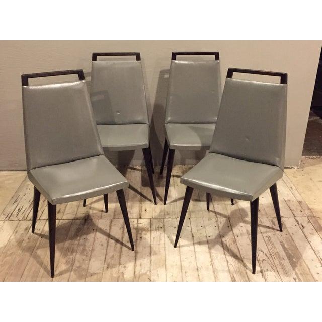 Vintage 1960s Mod Wood & Vinyl Chairs - 4 - Image 2 of 8