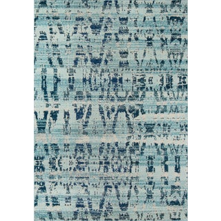 "Momeni Casa Polypropylene Ocean Blue Area Rug - 3'11"" X 5'7"" For Sale"