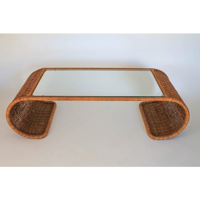 Scroll Wicker Coffee Table For Sale - Image 4 of 11