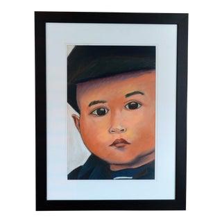"""Asian Boy"" Portrait Pastel Charcoal Drawing For Sale"