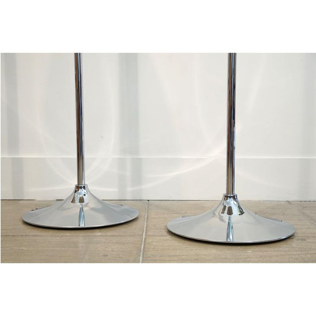 1970s 1970s Mid Century Chrome Torchere Floor Lamps - a Pair For Sale - Image 5 of 9