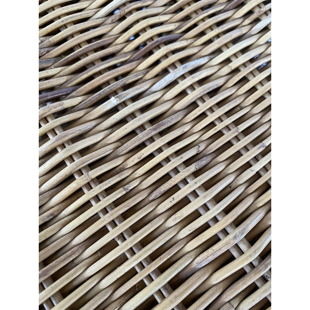 Camel Vintage Coastal Wicker Braid Drop Down Front Trunk For Sale - Image 8 of 13