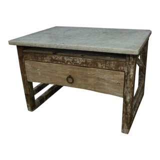 Italian Marble Top Bakers Table For Sale