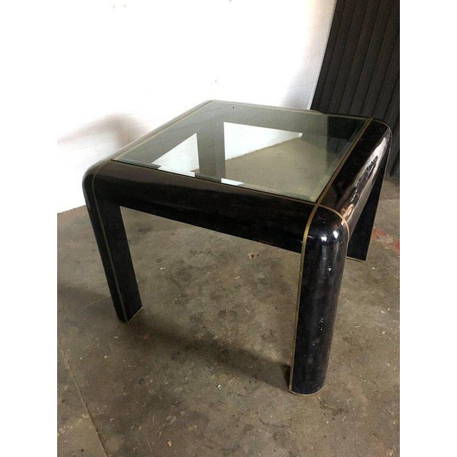 Black Tesselated Horn Small Dining Table by Maitland Smith For Sale - Image 8 of 10
