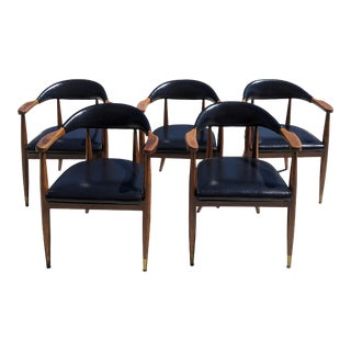 Mid-Century Modern Arm Chairs - Set of 5 For Sale