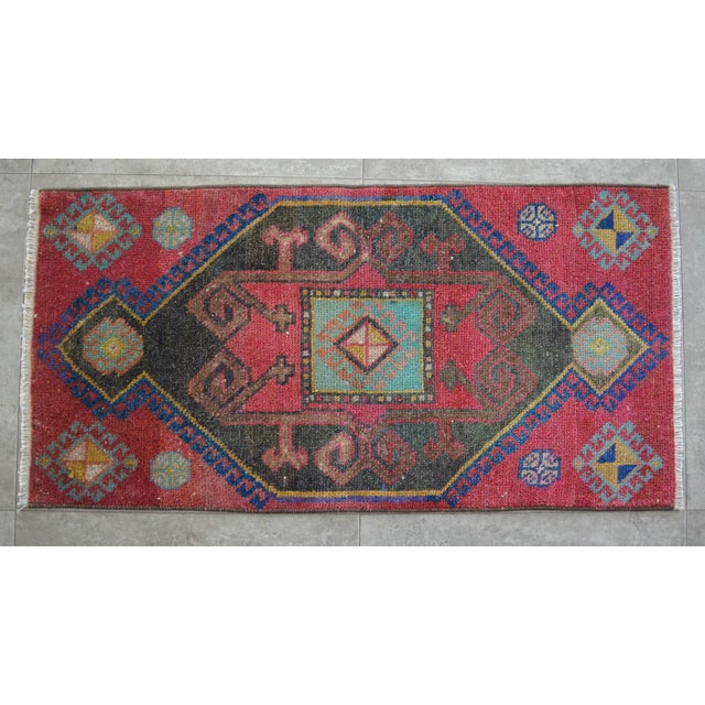 1950s Distressed Low Pile Turkish Yastik Petite Rug Hand Knotted Faded Mat - 19'' X 38'' For Sale - Image 5 of 5