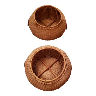 Vintage Baskets With Side Rings- a Pair For Sale