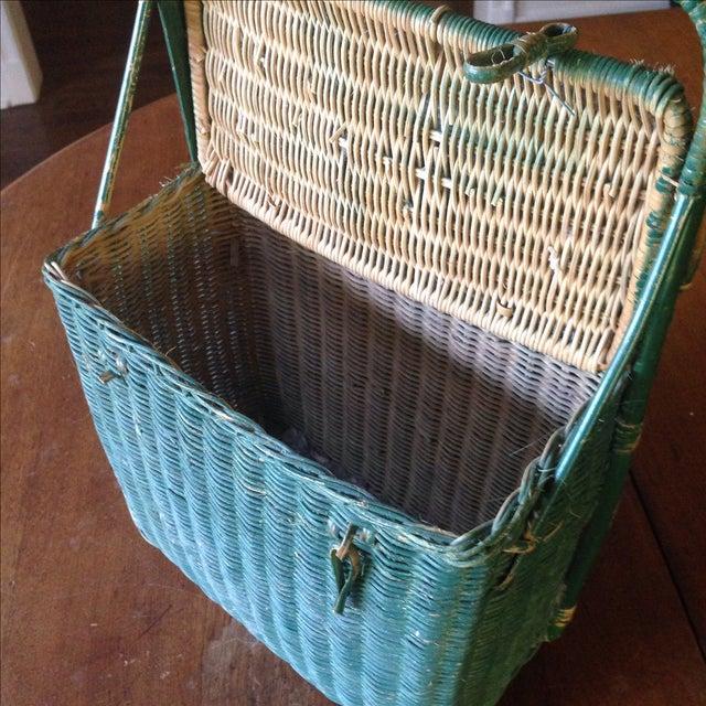Vintage Green Wicker Picnic Basket - Image 6 of 11