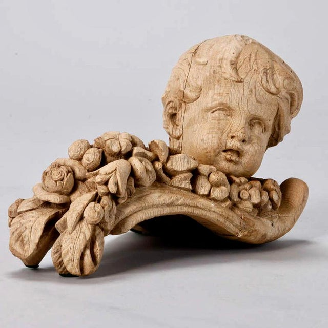 Oak 19th Century Bleached Oak Carved Cherubs - A Pair For Sale - Image 7 of 9