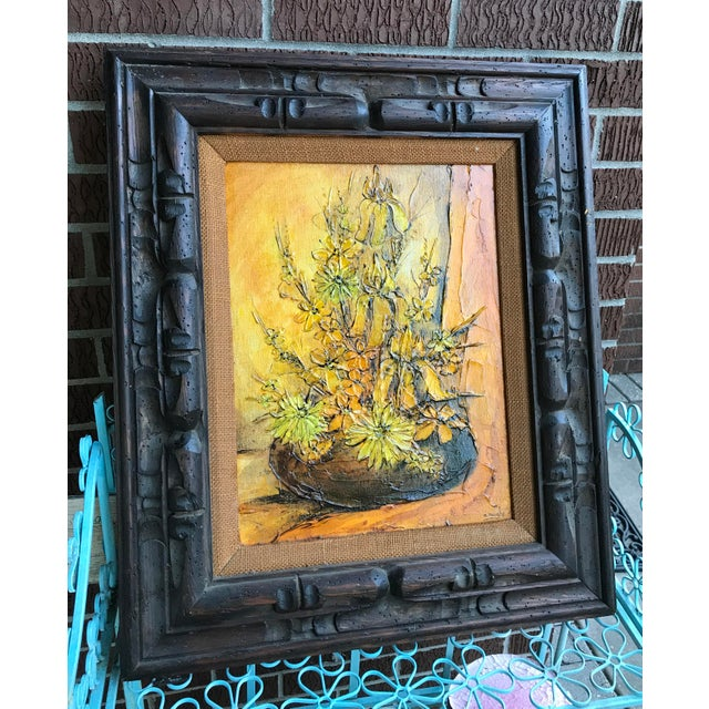 'Golden Floral' Original Oil Painting by Ann Rugh Backer. Mrs Bee 1930s Artist. Excellent condition in wood carved frame....