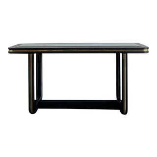 1980s Mirrored Black Lacquer Console Table For Sale