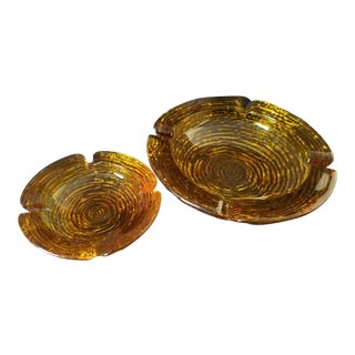 1970s Vintage Anchor Hocking Soreno Amber Ashtrays - A Pair For Sale