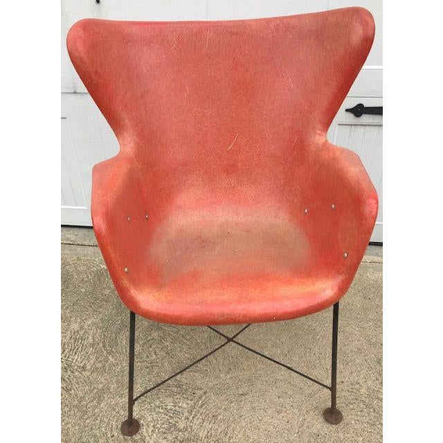 Metal Lawrence Peabody for Selig Mid-Century Fiberglass Wing Chair For Sale - Image 7 of 7