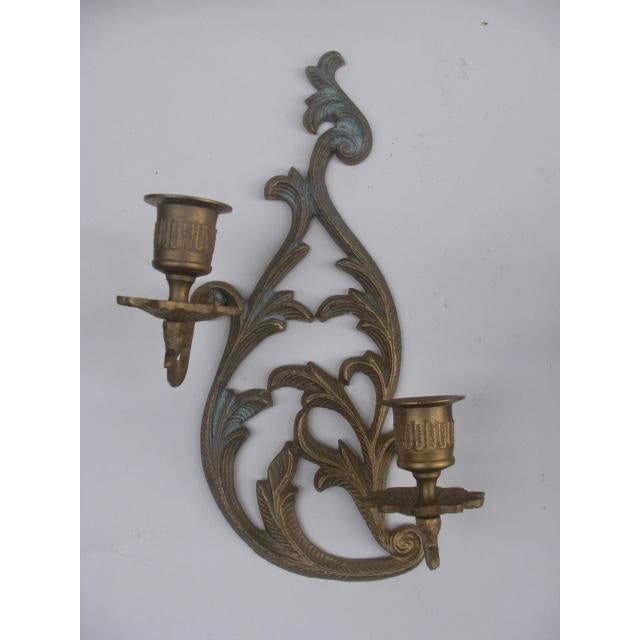 Cast Brass Candleholder Wall Sconces - A Pair For Sale - Image 5 of 5
