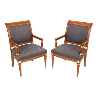 Late 20th Century Directoire Style Armchairs - A Pair For Sale