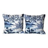 Image of Transitional Thibaut Daintree Blue and White Pillow Covers - a Pair For Sale
