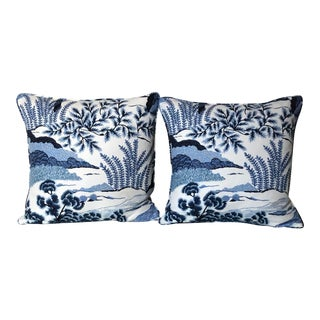 Transitional Thibaut Daintree Blue and White Pillow Covers - a Pair For Sale