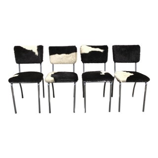 Cowhide Upholstered Chrome Chairs - Set of 4 For Sale