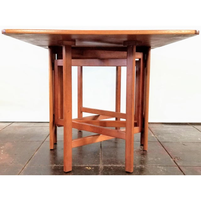 """Jentique Vintage 1960s Mid-Century Norwegian Modern Bendt Winge """"Ellipse"""" Style Gate-Leg Drop-Leaf Table For Sale - Image 4 of 11"""