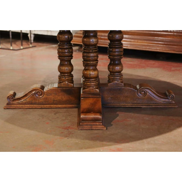 Brown Mid-Century French Carved Walnut Pedestal Round Dining Table With Parquetry Top For Sale - Image 8 of 13