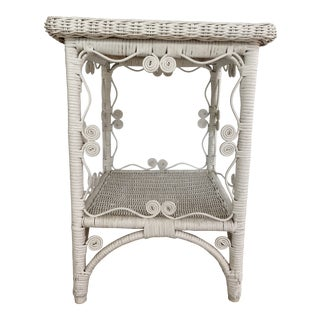 Vintage Shabby Chic Painted White Wicker Side Table For Sale