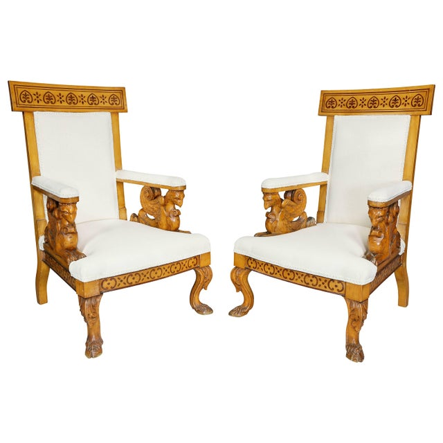 Pair of Italian Neoclassical Maple Armchairs Attributed Pelagio Palagi For Sale - Image 11 of 11