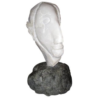 Strong Marble Sculpture of a Man Head For Sale