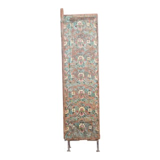 Beautiful Antique Tashi Tibetan Painted Door Panel For Sale