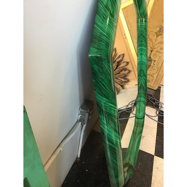 Large Pair of Italian 1970s Faux Malachite Beveled Mirrors For Sale - Image 12 of 13