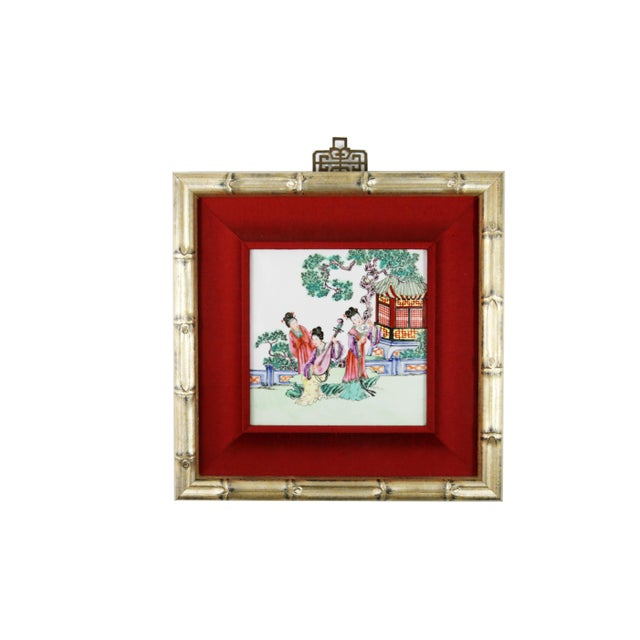 Bamboo Hand-Painted Geishas on Porcelain Tile For Sale - Image 7 of 7