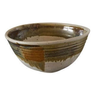 1980s Large Hand-Thrown Ceramic Bowl For Sale