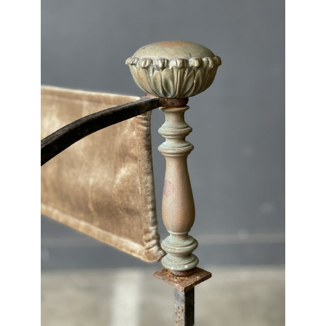 Metal Pair of Antique Iron and Brass Curule Chairs For Sale - Image 7 of 10