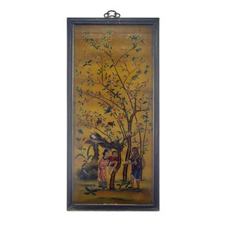 Vintage Chinese Scroll Reverse Painting Panel in Original Frame For Sale