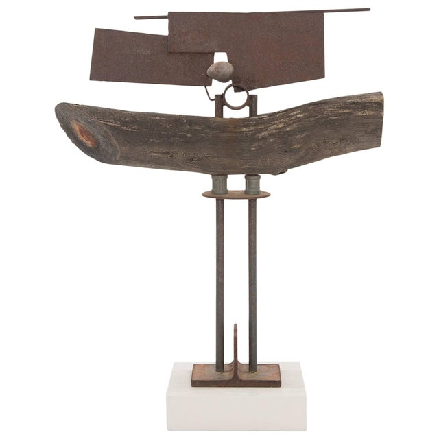 1980s Wood Patinated Steel and Stone Sculpture by Rick Lussier For Sale - Image 5 of 5
