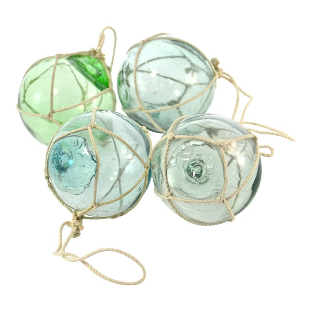 Aqua Japanese Blown Glass Net Float Ornaments - Set of 4 - Image 1 of 5