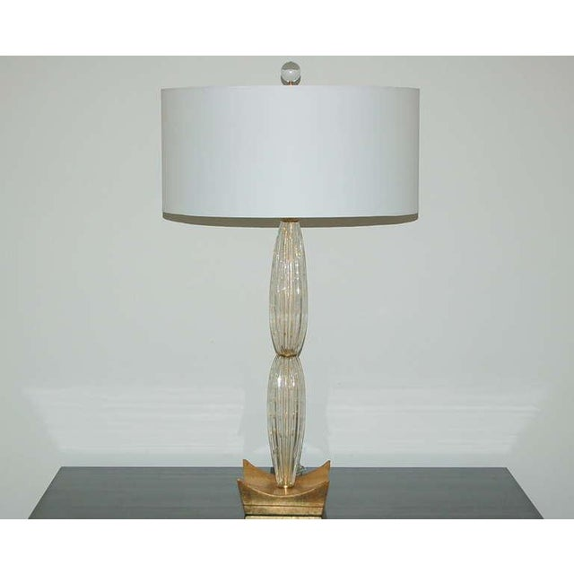 Vintage Murano Glass Table Lamps Champagne For Sale - Image 10 of 10