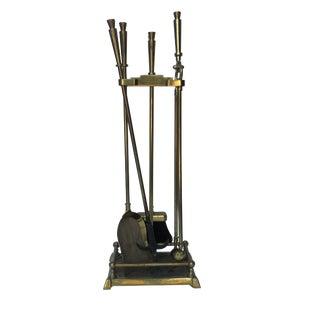 Vintage Modernist Art Deco Form Brass Fireplace Tool Set- 5 Pieces For Sale